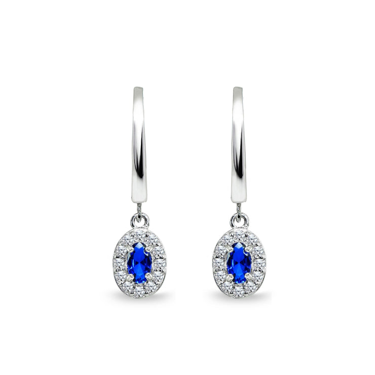 Sterling Silver Synthetic Blue Spinel & Cubic Zirconia Oval-Cut Halo Small Dangle Huggie Hoop Earrings