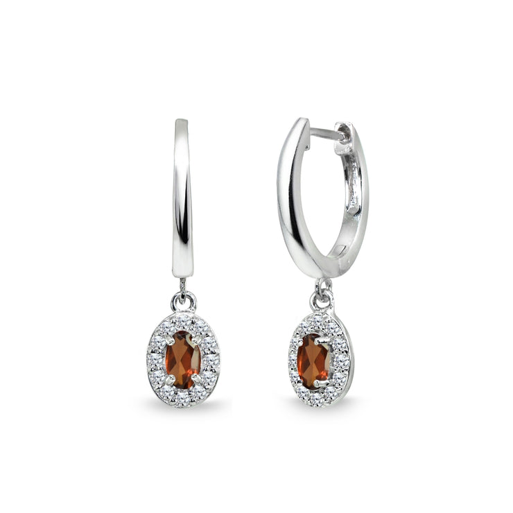 Sterling Silver Garnet & Cubic Zirconia Oval-Cut Halo Small Dangle Huggie Hoop Earrings