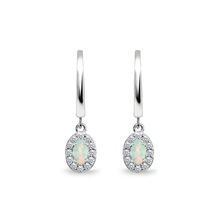 Sterling Silver Synthetic White Opal & Cubic Zirconia Oval-Cut Halo Small Dangle Huggie Hoop Earrings
