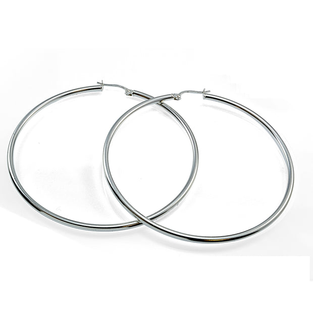 Sterling Silver 50mm Round Hoop Earrings