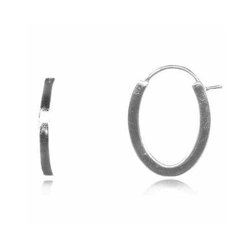 Sterling Silver Sleek Oval Hoop Earrings