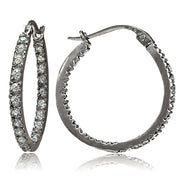 Black Tone over Sterling Silver Cubic Zirconia Inside Out 20mm Round Hoop Earrings