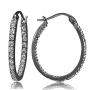 Black Tone over Sterling Silver Cubic Zirconia Inside Out 20mm Oval Hoop Earrings
