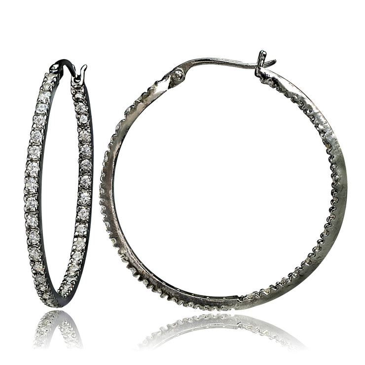 Black Tone over Sterling Silver Cubic Zirconia Inside Out 35mm Round Hoop Earrings