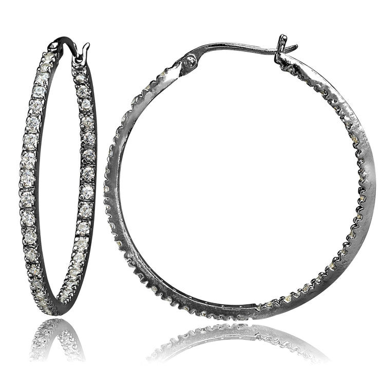 Black Tone over Sterling Silver Cubic Zirconia Inside Out 40mm Round Hoop Earrings