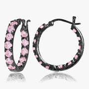 Black Tone over Sterling Silver Light Pink Cubic Zirconia Inside Out 3x25 mm Round Hoop Earrings