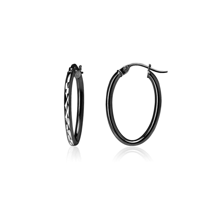 Black Flashed Sterling Silver Two Tone 2mm Oval Diamond-Cut Hoop Earrings, 15mm