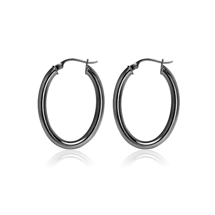 Black Flashed Sterling Silver Two Tone 3mm Oval Diamond-Cut Hoop Earrings, 20mm