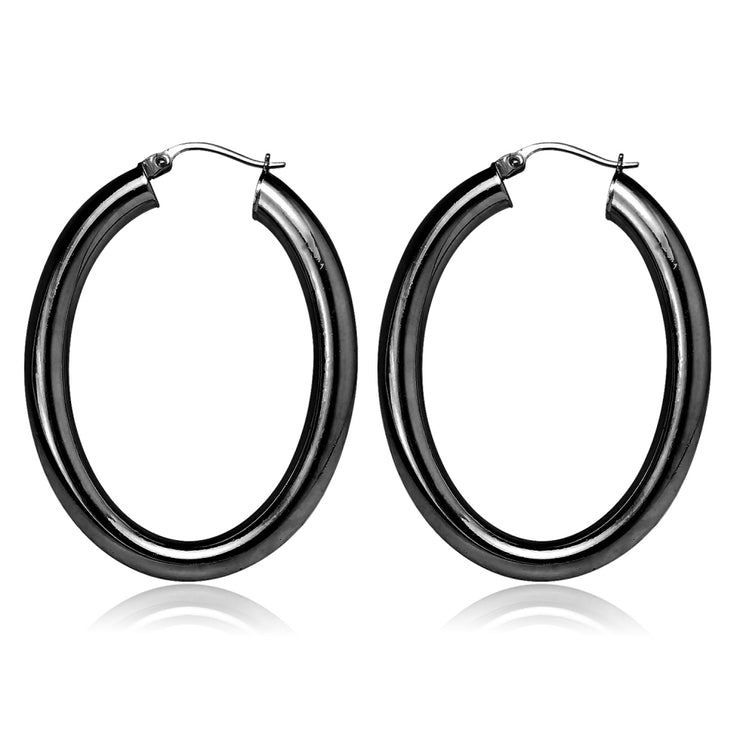 Black Flashed Sterling Silver Two Tone 4mm Oval Diamond-Cut Hoop Earrings, 30mm