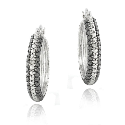 Silver Tone Diamond Accent Black & White Striped Hoop Earrings