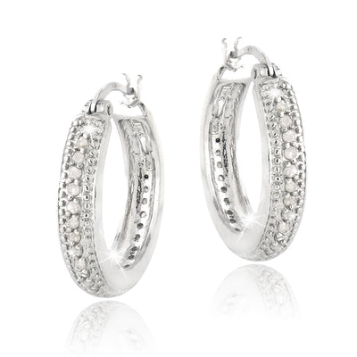 0.50ct. TDW Diamond 20mm Hoop Earrings