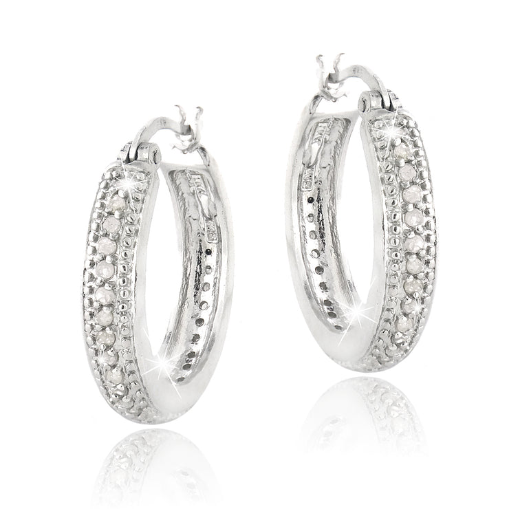1/2 Carat tdw Diamond 20mm Hoop Earrings