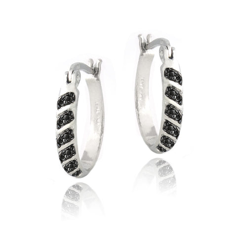 Black Diamond Accent 20mm Striped Oval Hoop Earrings