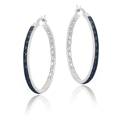 Blue Diamond Accent 30mm Round Hoop Earrings