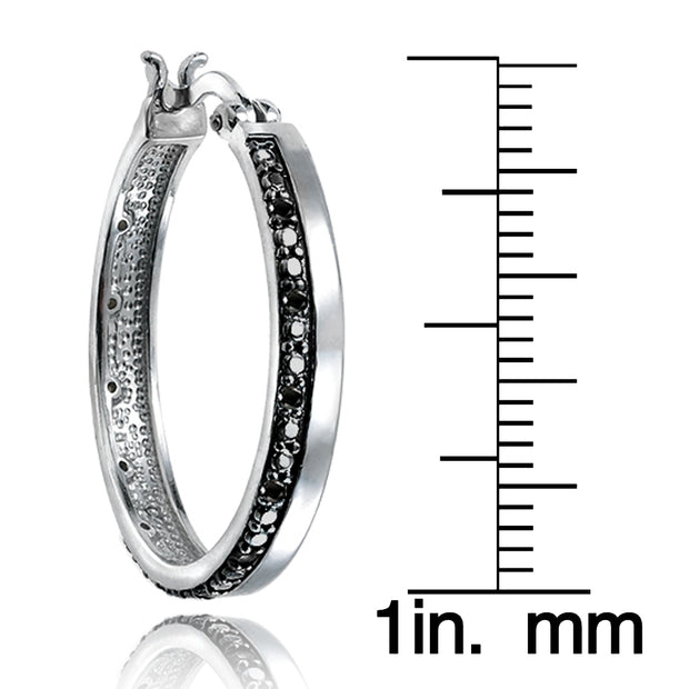 Silver Tone 1/4 Carat Black Diamond Hoop Earrings