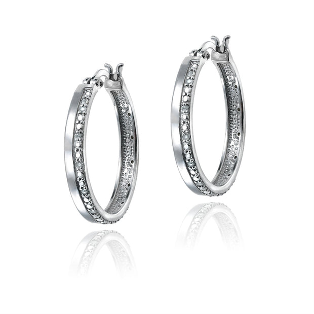 Silver Tone 1/4 ct Diamond Hoop Earrings