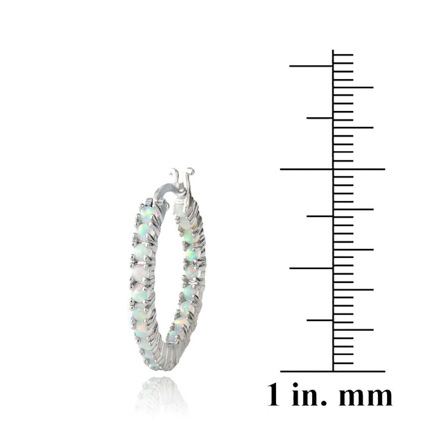 Created White Opal Inside Out Hoop Earrings