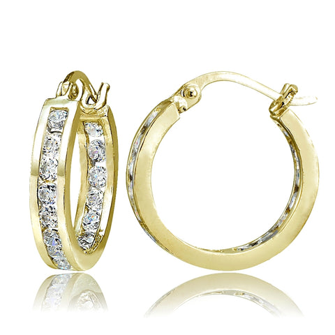 Gold Tone over Sterling Silver Cubic Zirconia Inside Out Channel-Set 15mm Round Hoop Earrings