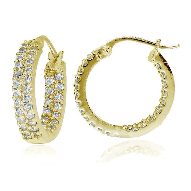 Gold Tone over Sterling Silver Cubic Zirconia 3x16mm Two Row Inside-Out Hoop Earrings