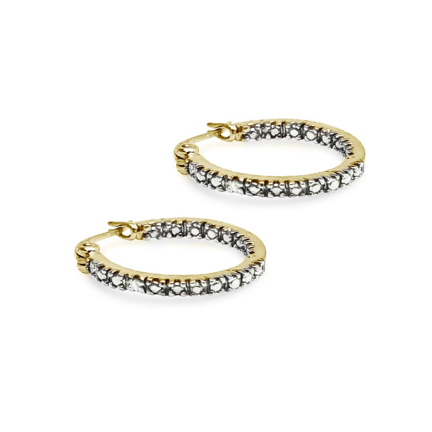 Yellow Sterling Silver Round Inside Out Diamond Accent 17mm Hoop Earrings, JK-I3