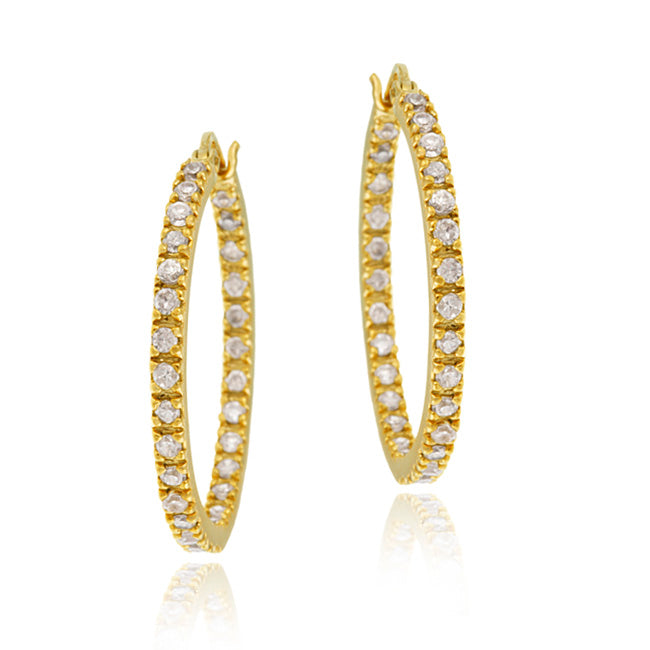 Gold Tone over Sterling Silver Cubic Zirconia Inside Out 25mm Round Hoop Earrings