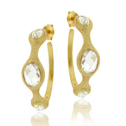 18K Gold over Sterling Silver CZ Brushed Hoop Earrings