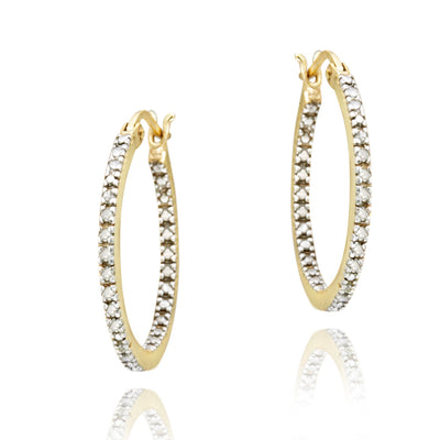18K Gold over Sterling Silver 1/5ct Diamond Inside-Out 20mm Hoop Earrings