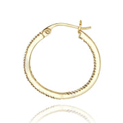18K Gold over Sterling Silver 1/5 ct Diamond Inside-Out 20mm Hoop Earrings