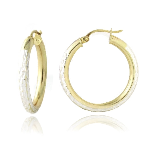 18K Gold over Sterling Silver Two-Tone 35mm Diamond-Cut Hoop Earrings