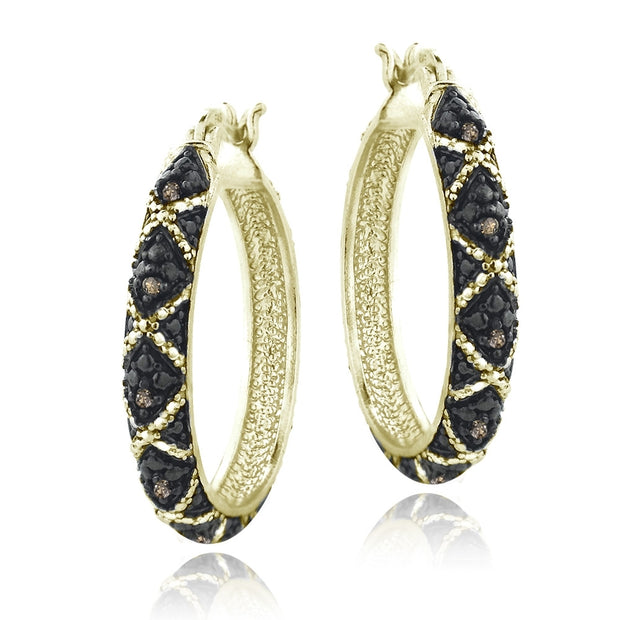 Gold Tone over Sterling Silver 1/10 ct Champagne Diamond Criss-Cross Hoop Earrings