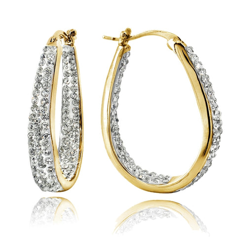 Gold Tone Crystal Inside-Out Oval Hoop Earrings