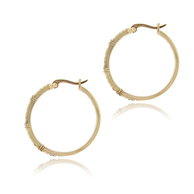 Gold Tone over Sterling Silver .06ct Champagne Diamond & White Topaz Hoop Earrings