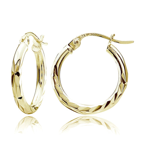 Gold Tone over Sterling Silver 2mm Diamond Cut High Polished Round Hoop Earrings, 15mm