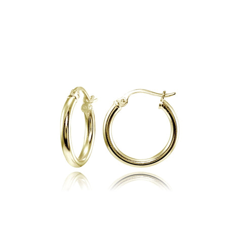 Gold Tone over Sterling Silver 2mm High Polished Round Hoop Earrings, 15mm