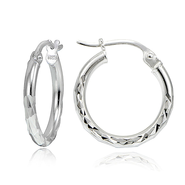 Gold Tone Over Sterling Silver Diamond-Cut Round Hoop Earrings, 15mm