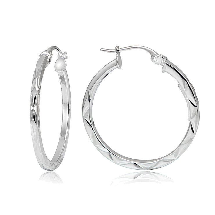 Gold Tone Over Sterling Silver Square-tube Diamond-Cut Round Hoop Earrings, 15mm