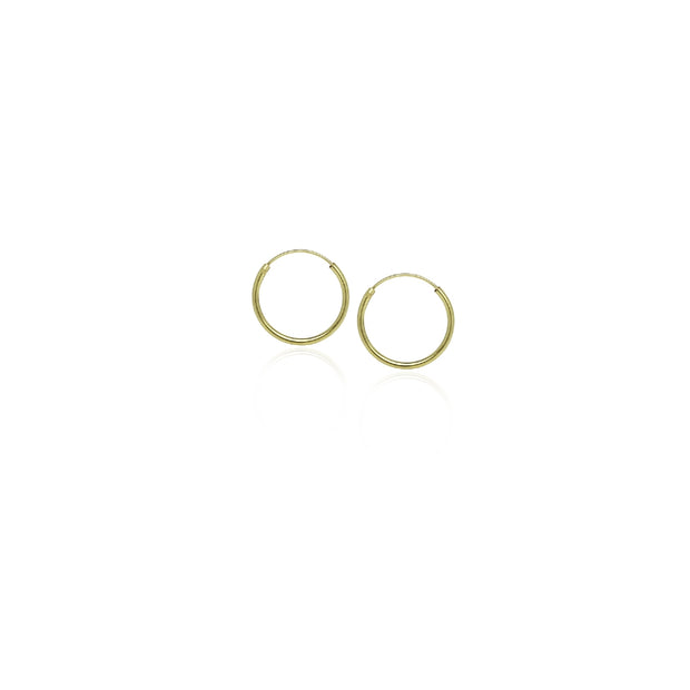 Gold Tone over Sterling Silver 1.2mm Endless Hoop Earrings, 10mm
