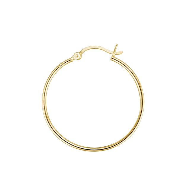 Gold Tone over Sterling Silver 1.5mm High Polished Round Hoop Earrings, 35mm