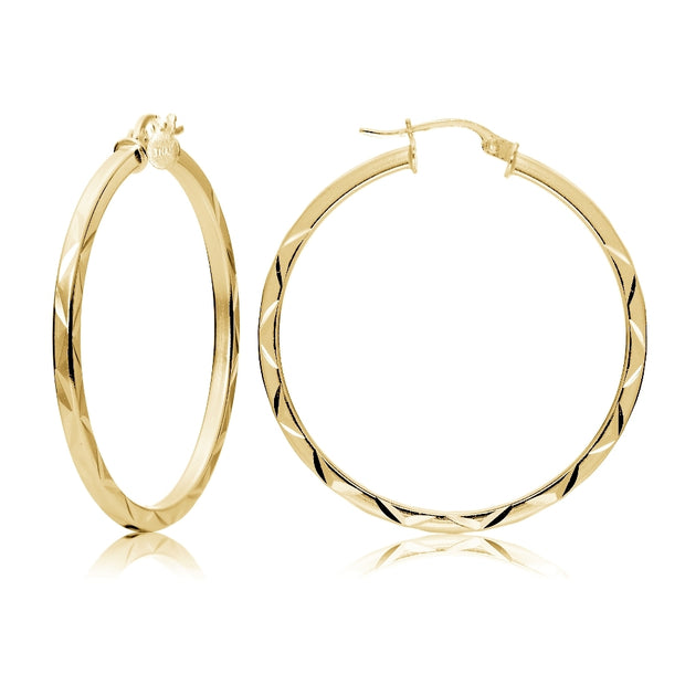 Gold Tone over Sterling Silver 2mm Diamond Cut Square-Tube Round Hoop Earrings, 35mm
