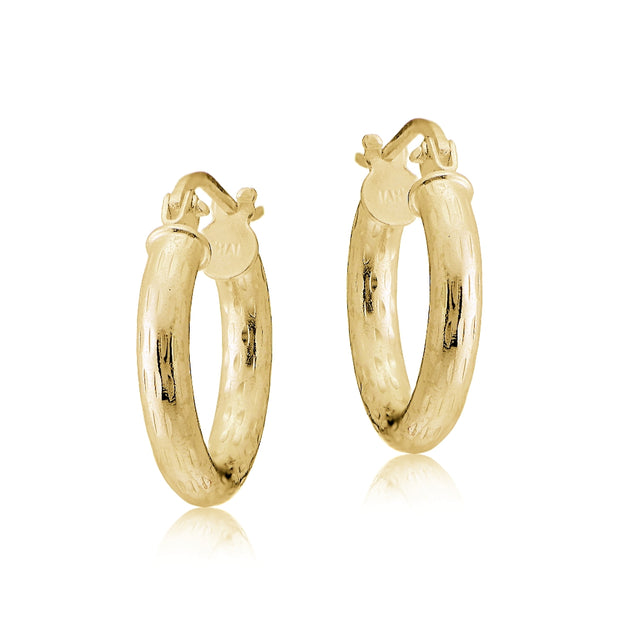 Gold Tone over Sterling Silver 2.5mm Diamond Cut Polished Round Hoop Earrings, 15mm