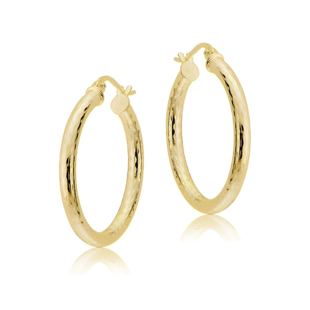 Gold Tone over Sterling Silver 2.5mm Diamond Cut Polished Round Hoop Earrings, 20mm