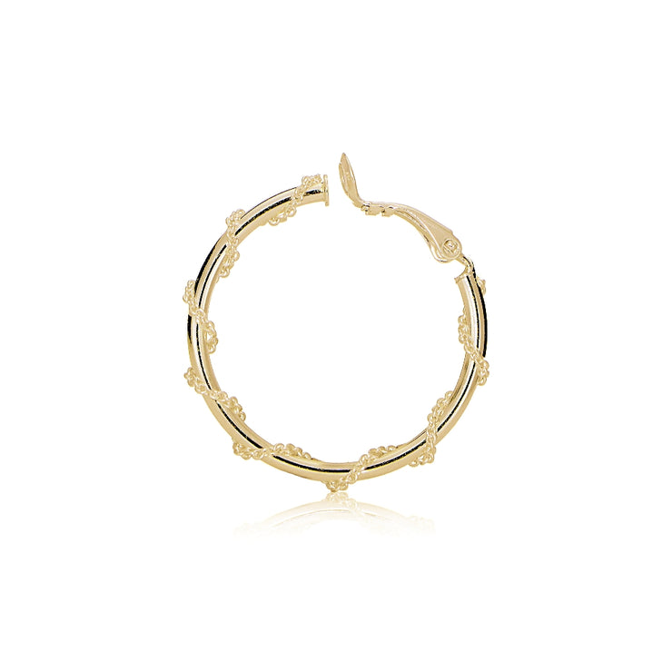 Gold Tone over Sterling Silver Chain Wrap Clip-On Hoop Earrings, 20mm