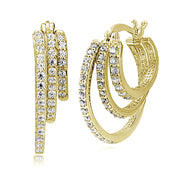 Gold Tone over Sterling Silver Cubic Zirconia Triple Round Graduating Hoop Earrings