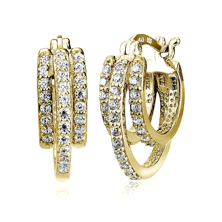 Gold Tone over Sterling Silver Cubic Zirconia Triple Row Fashion Hoop Earrings