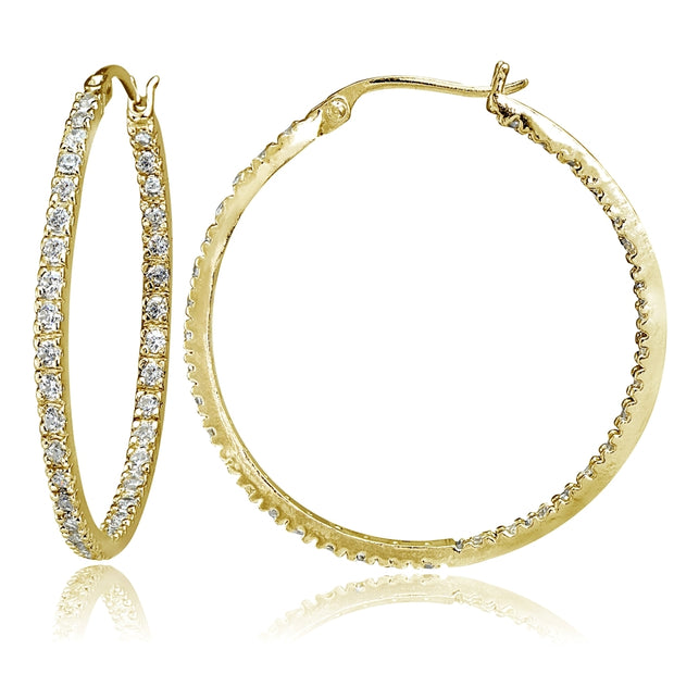 Gold Tone over Sterling Silver Cubic Zirconia Inside Out 40mm Round Hoop Earrings