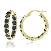 Gold Tone over Sterling Silver Black Cubic Zirconia Inside Out 3x25 mm Round Hoop Earrings