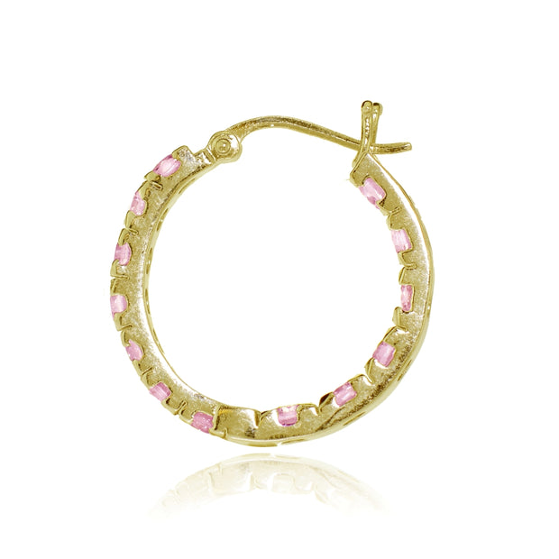 Gold Tone over Sterling Silver Light Pink Cubic Zirconia Inside Out 3x25 mm Round Hoop Earrings