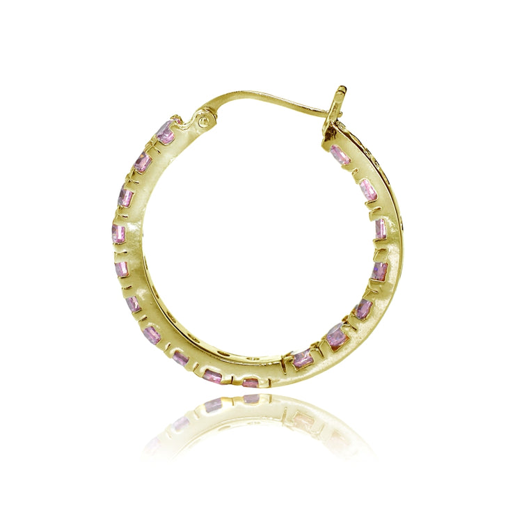 Gold Tone over Sterling Silver Light Pink Cubic Zirconia Inside Out 3x20 mm Round Hoop Earrings
