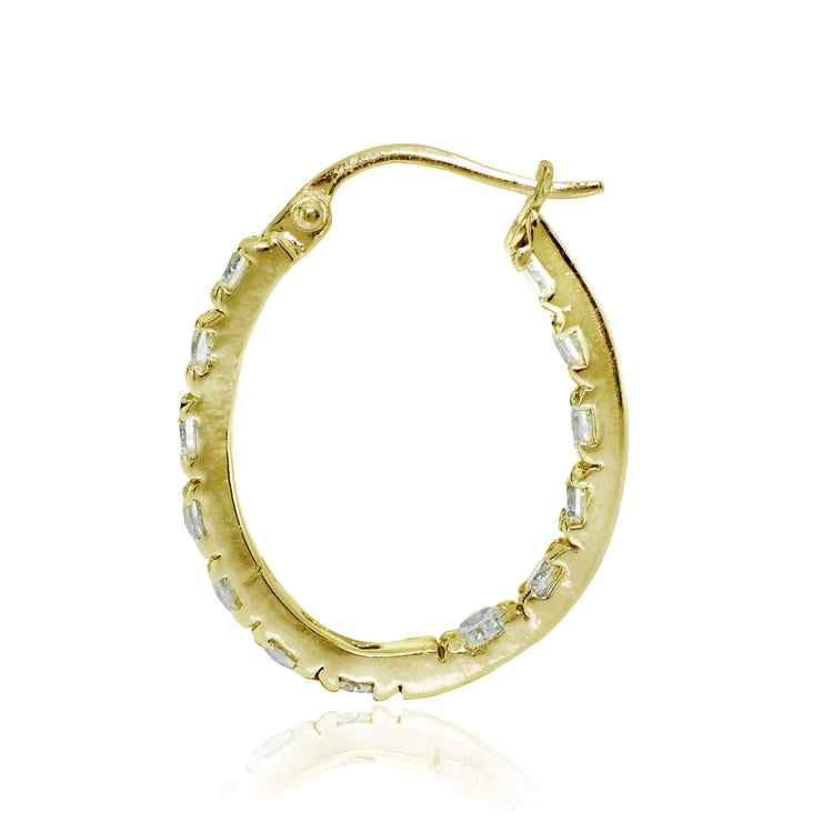 Gold Tone over Sterling Silver Cubic Zirconia 20mm Inside-Out Oval Hoop Earrings