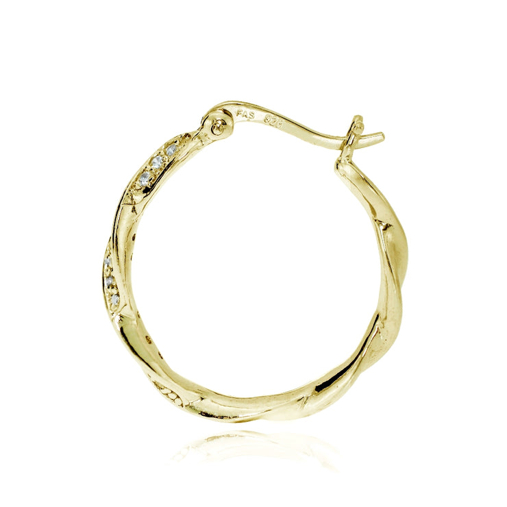 Gold Tone over Sterling Silver Cubic Zirconia 24mm Twist Round Hoop Earrings